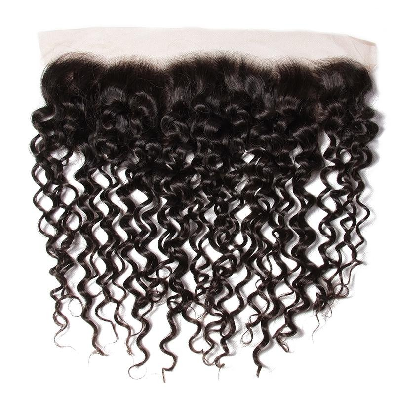 AfricanMall 3 Bundles Curly Wave Human Hair With 13*4inch Lace Frontal Closure