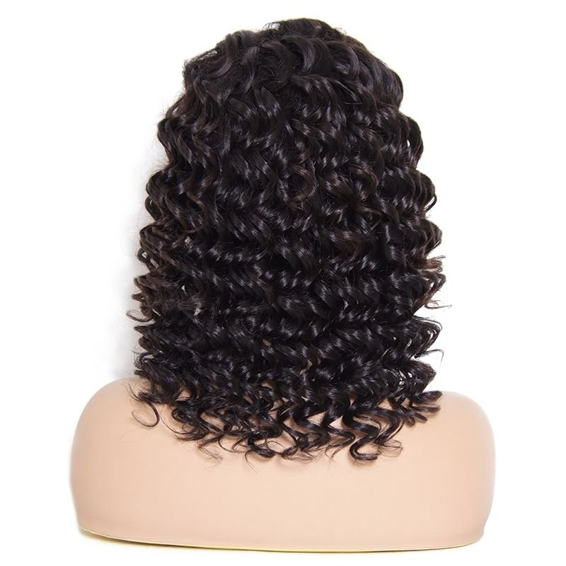 AfricanMall Medium Length Curly Wave Lace Front Human Hair Wig With Baby Hair