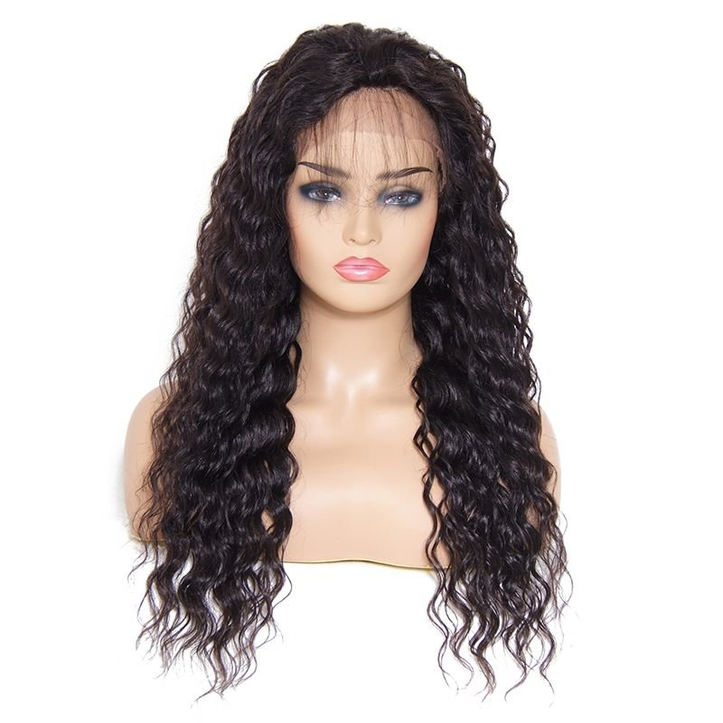 AfricanMall Deep Wave Free Part Lace Front Human Hair Wig With Baby Hair