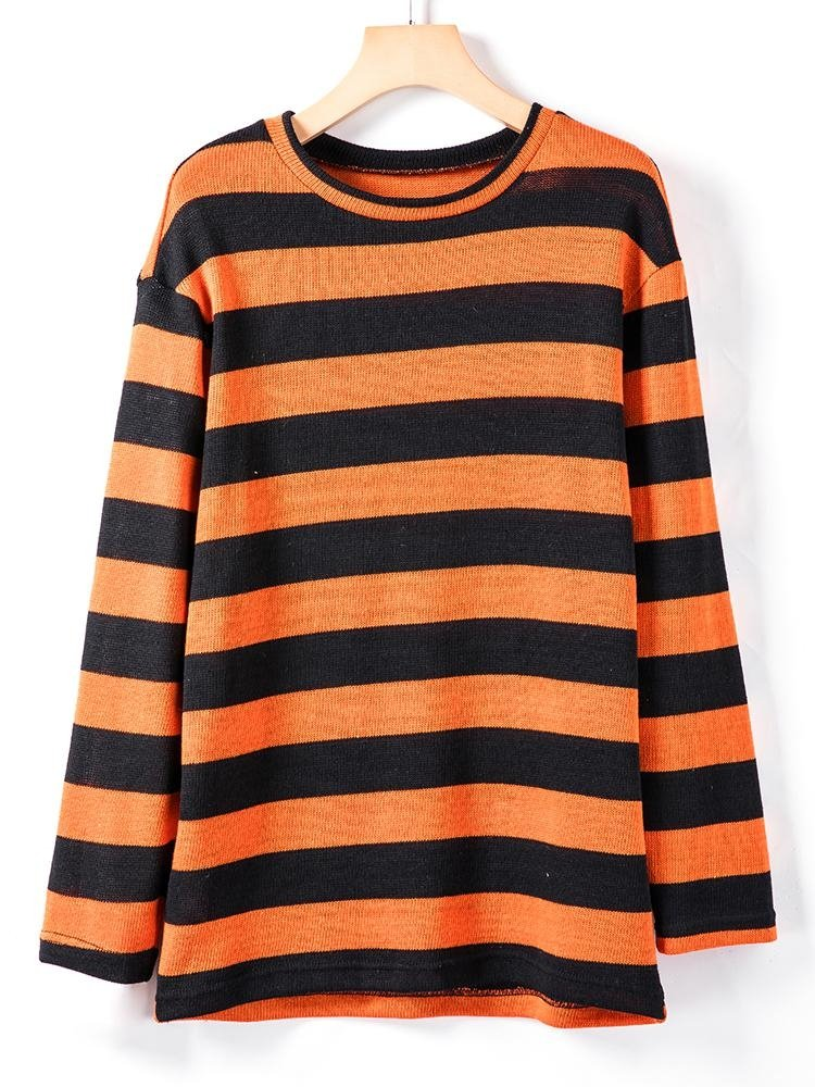 Drop Shoulder Striped  Knitted Sweater