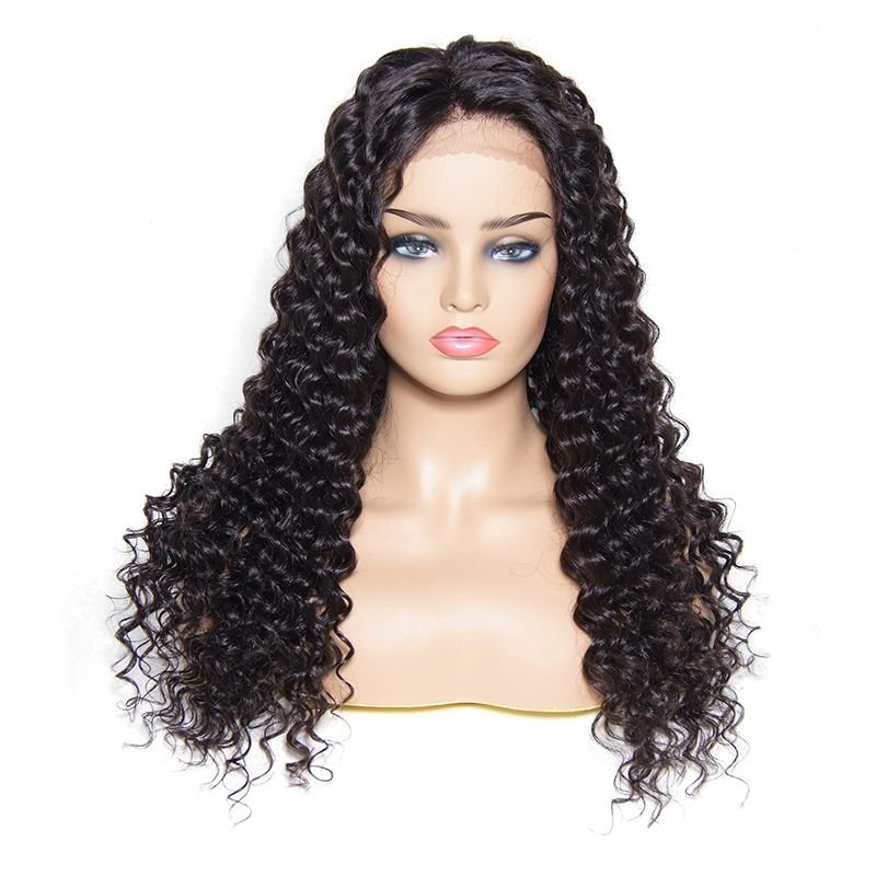 AfricanMall 100% Remy Human Hair Deep Wave Wig