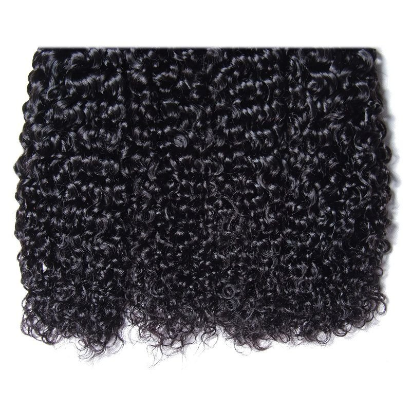 Hurela Series 4PcsPack Jerry Curly Natural Color Human Hair Weft
