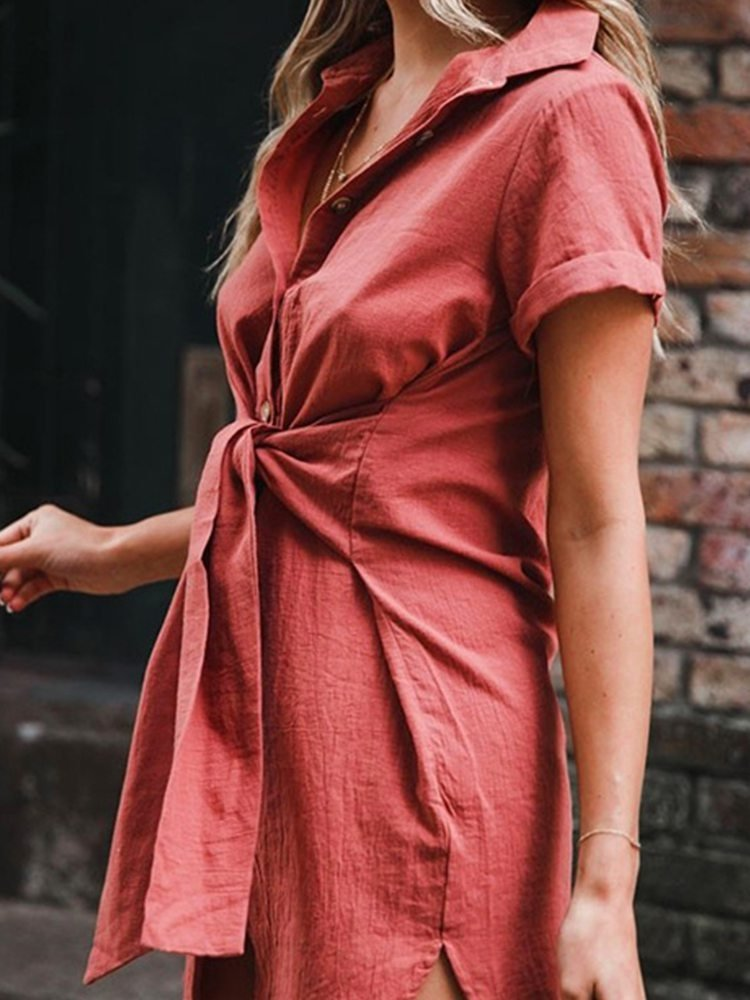 JurllyShe Belted Button Up Collar Shirt Dress