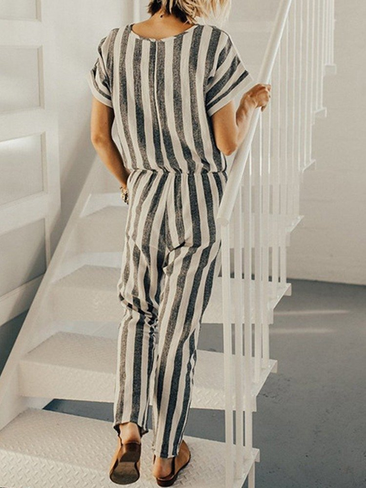 JurllyShe Casual Pockets Striped Ropmers