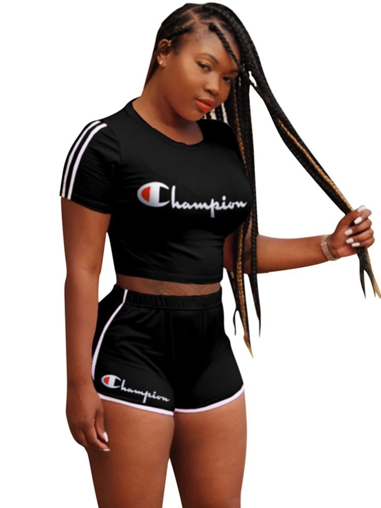JurllyShe Champion Letter Print Crop T-shirt With Side Stripe Shorts Two Piece Outfits
