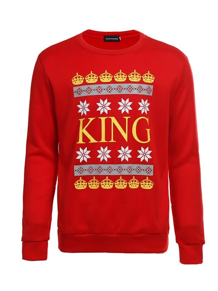 JurllyShe Christmas KING Printed Couple Lovers Sweatshirts