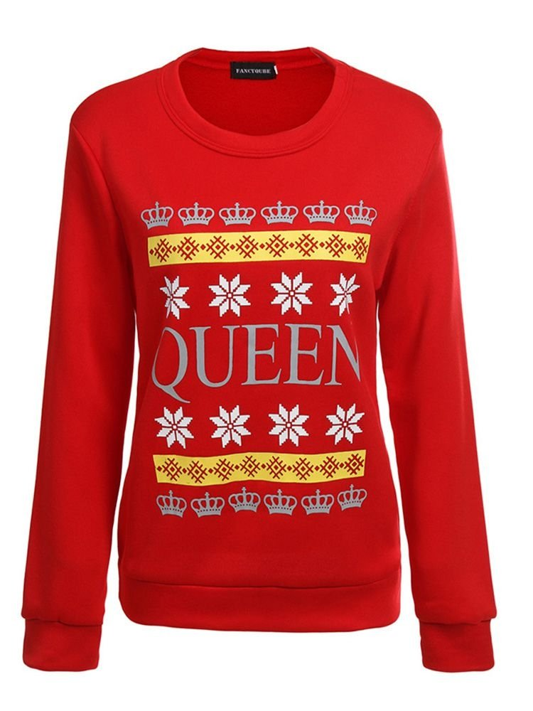 JurllyShe Christmas QUEEN Printed Couple Lovers Sweatshirts