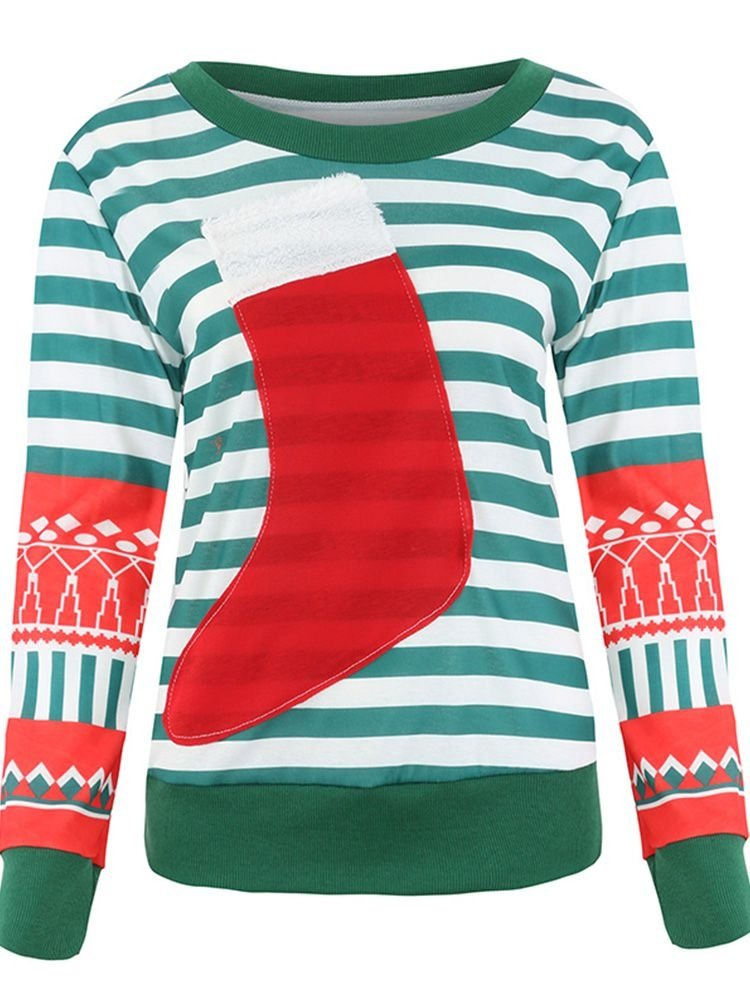 JurllyShe Christmas Stocking Striped Sweatshirt