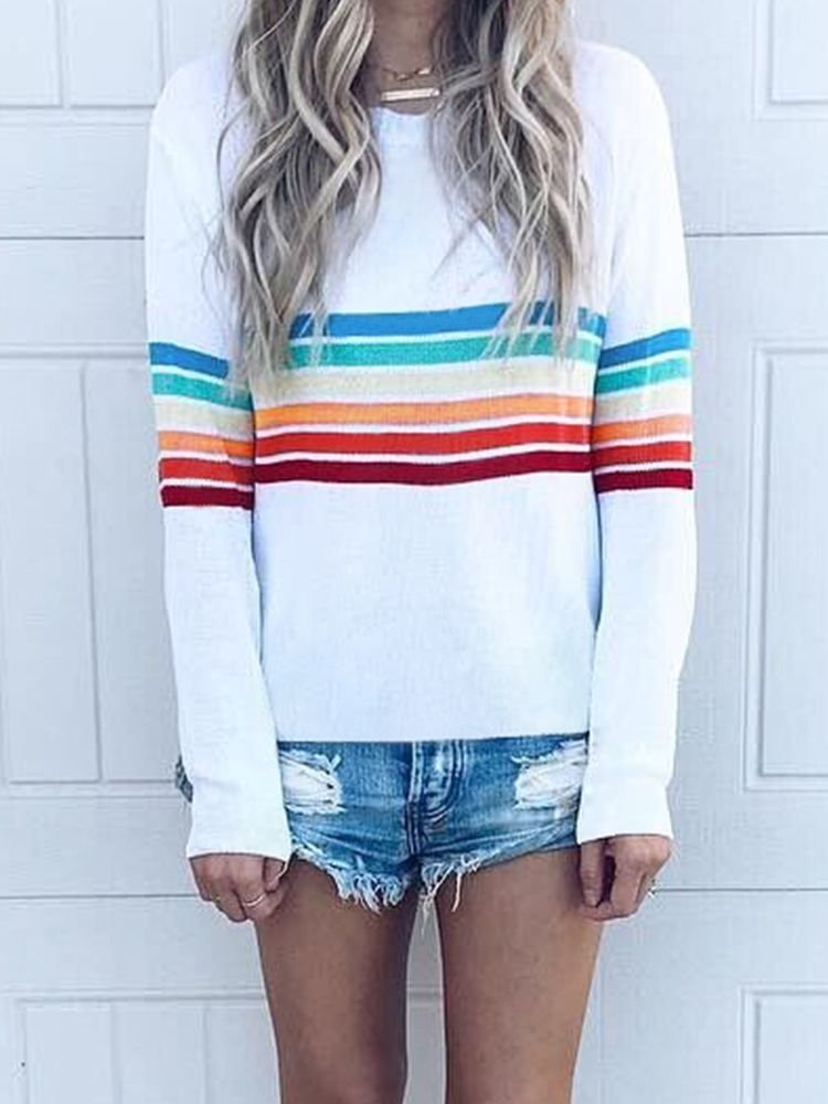 JurllyShe Color Stripe Long Sleeve T-shirt