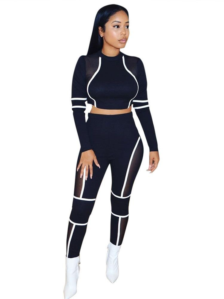 JurllyShe Contrast Color Mesh Patchwork Crop Top and Pants Two Piece Sets