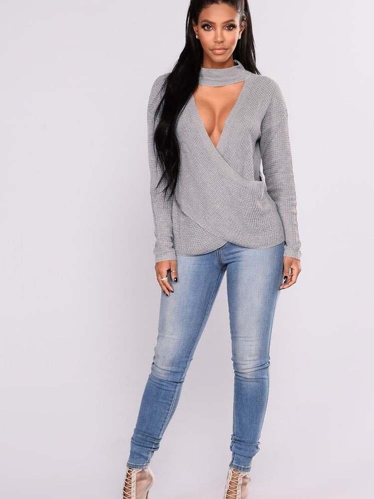JurllyShe Cross Wrap Cut Out Knitting Sweater