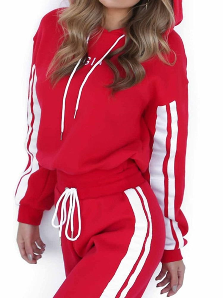 JurllyShe Drop Shoulder Hoodie With White And Red Spliced Pants