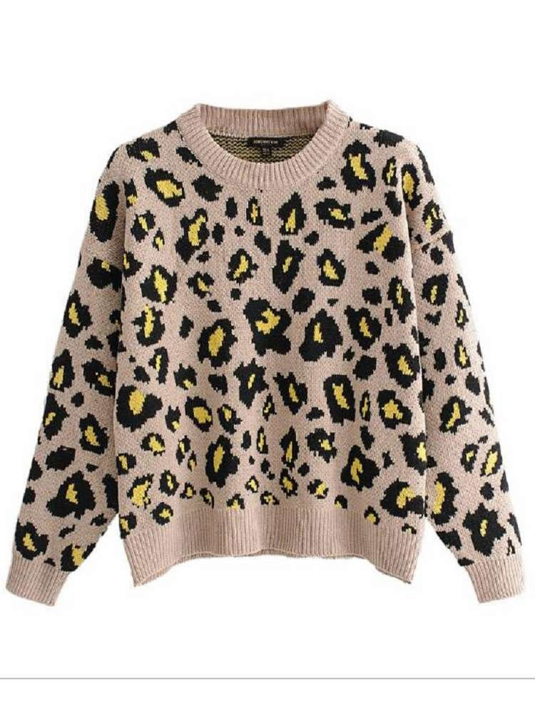 JurllyShe Drop Shoulder Leopard Print Sweater
