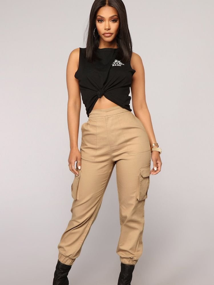 JurllyShe Elastic Waist Hem Side Pocket Pants