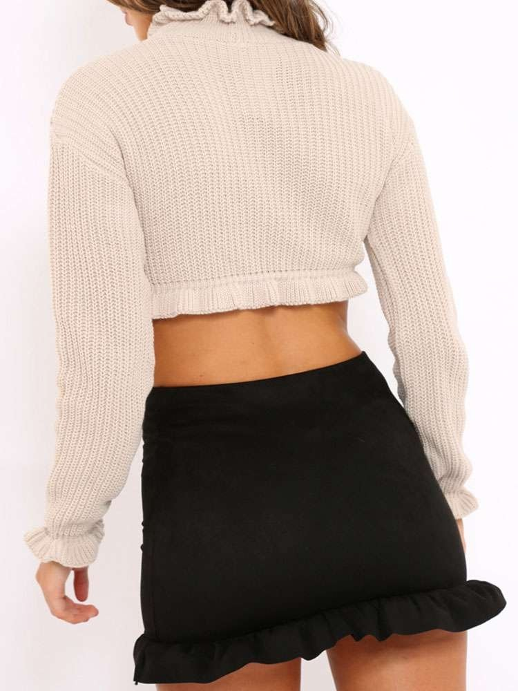 JurllyShe Frill Detail Rib Knit Trim Crop Sweater