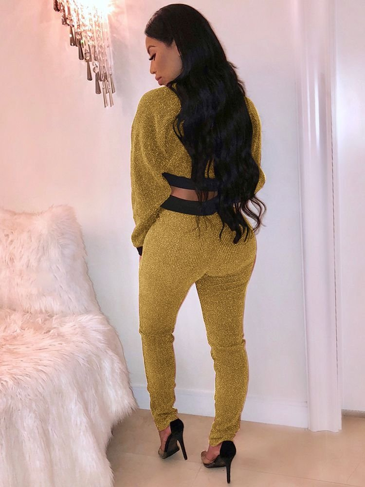 JurllyShe Gold Thread Zip Crop Top And Pants Suit
