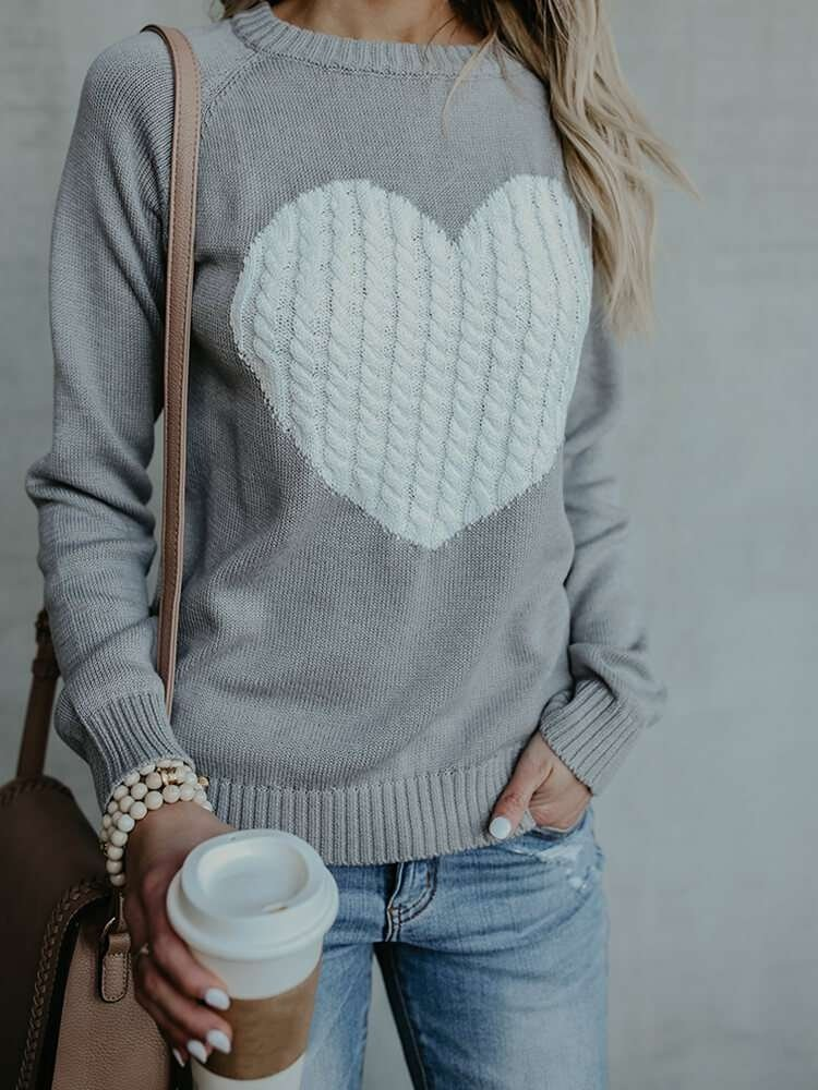 JurllyShe Heart Pattern Jumper