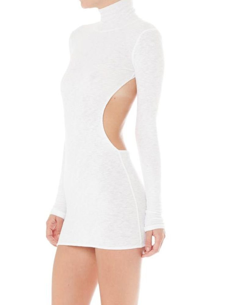 JurllyShe High Neck Scoop-Back Solid Skinny Dress