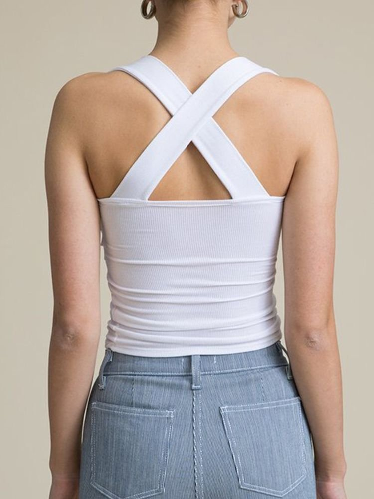 JurllyShe Knotted Front Strap Top