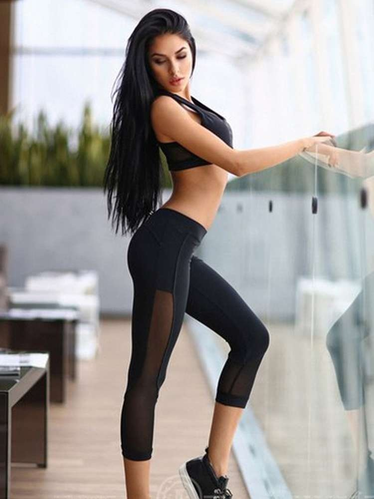 JurllyShe Mesh Insert Sporty Vest And Leggings Set