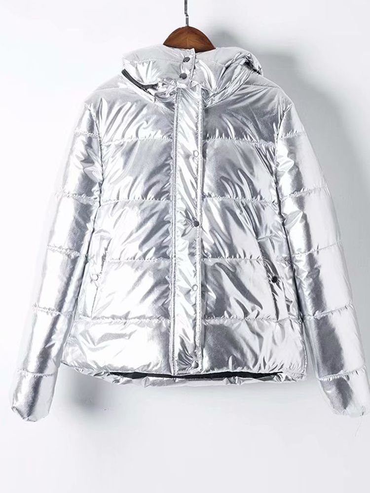 JurllyShe Metallic Quilted Hooded Cotton Coat