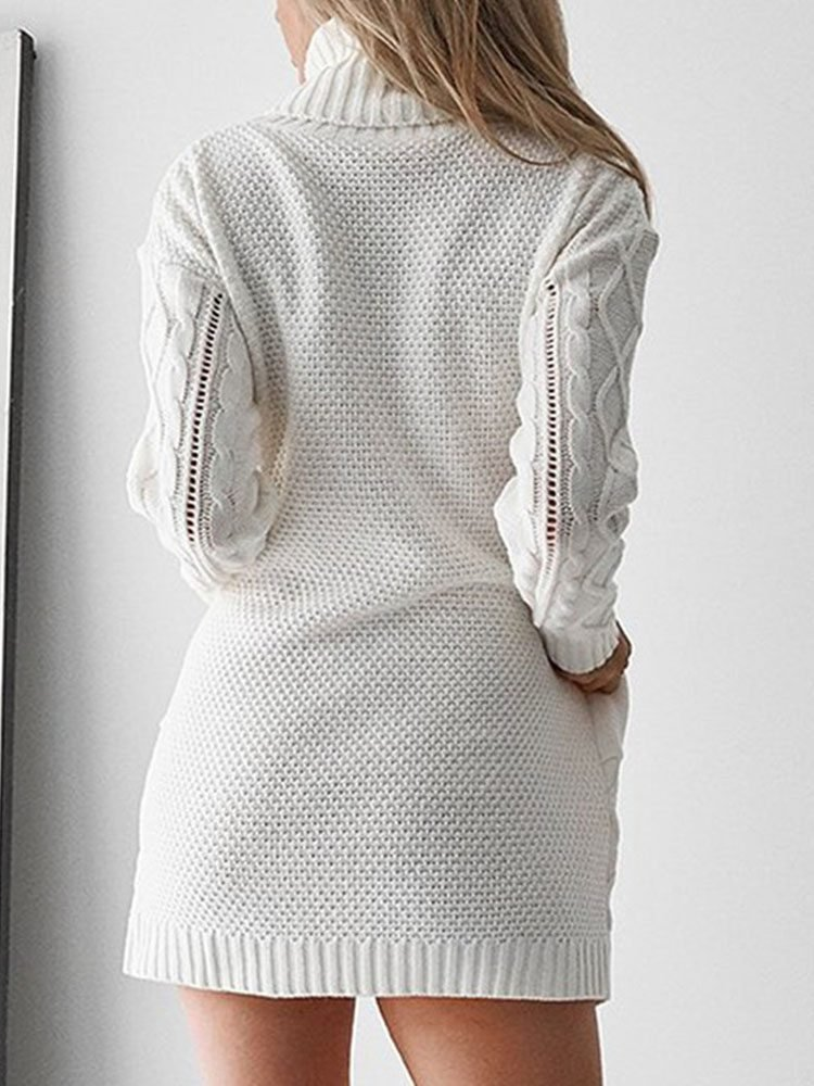 JurllyShe Mixed Cable Knitting Drop Shoulder Sweater