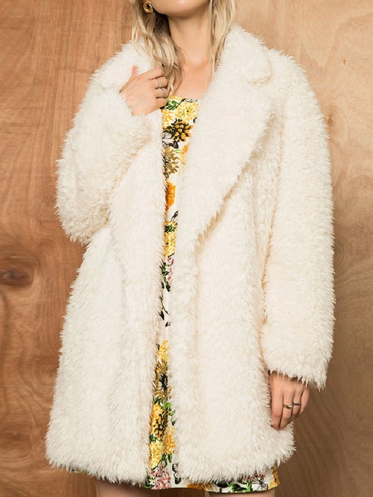 JurllyShe Notch Collar Solid Open Front Teddy Coat