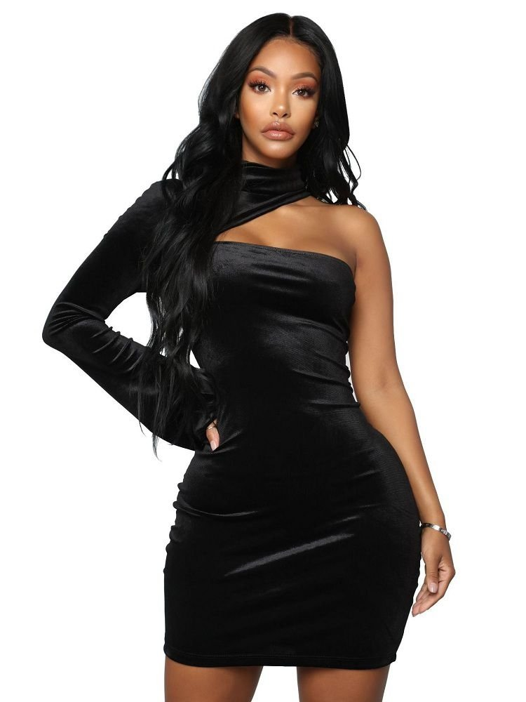 JurllyShe One Shoulder Choker Neck Bodycon Dress
