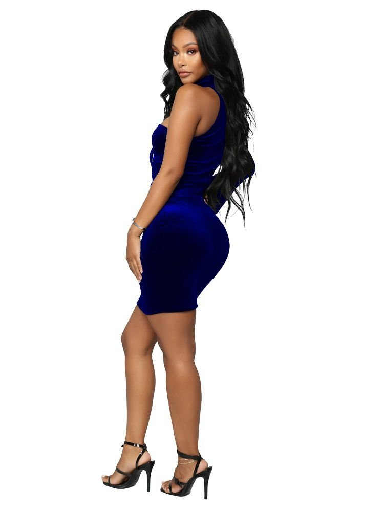JurllyShe One Shoulder Choker Neck Bodycon Dress-Royal Blue