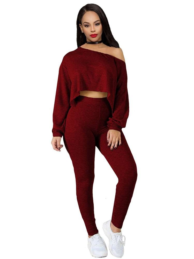JurllyShe One Shoulder Crop Top With Skinny Pants Suit-Wine