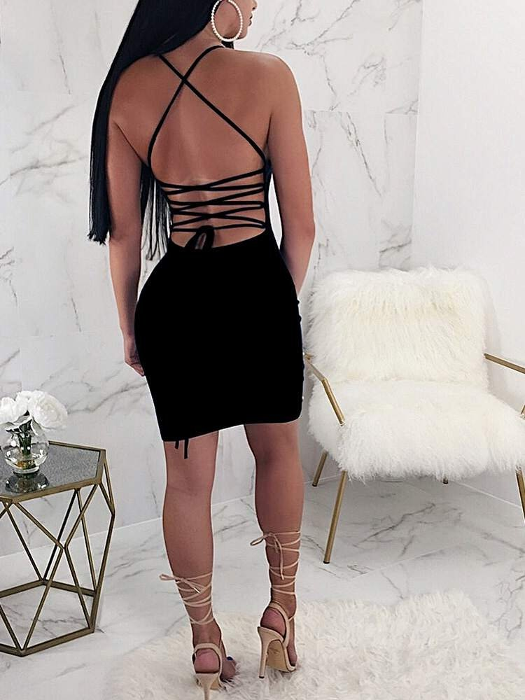 JurllyShe Pearls Detail Backless Lace Up Dress