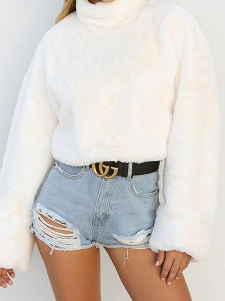 JurllyShe Plush Drop Shoulder Sweatshirt