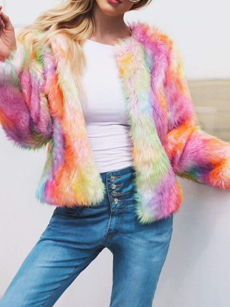 JurllyShe Rainbow Color Plush Cardigan Coat