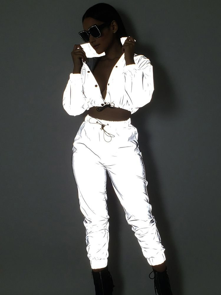 JurllyShe Reflective Night Version Button Up Crop Top And Pants Two Piece Sets