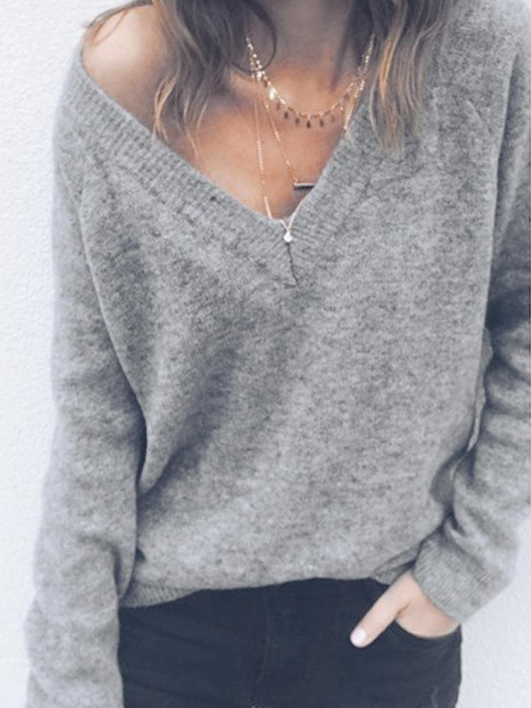 JurllyShe Rib Knitting Spliced Sweater