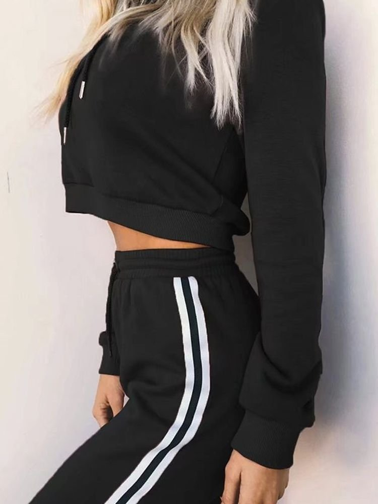 JurllyShe Short Hoodie And Drawstring Pants Two Piece Sets