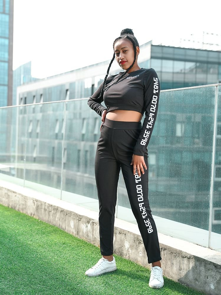 JurllyShe Side Letter Print Crop Top And Skinny Pants Two Piece Sets
