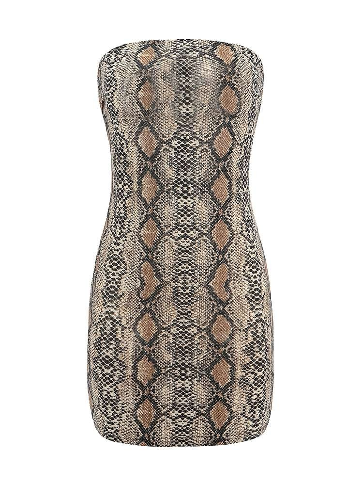 JurllyShe Snake Printed Tube Bodycon Dress