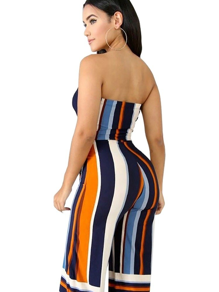 JurllyShe Tube Striped Wide Leg Jumpsuit Wide Leg Pants