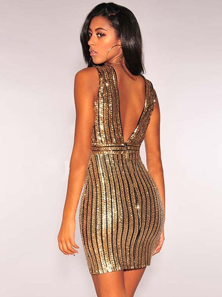 JurllyShe V-Neck Sequin Backless Bodycon Dress