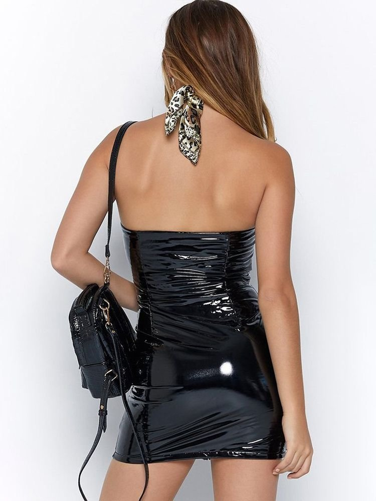 JurllyShe Zipper Up Bodice Bandeau Dress