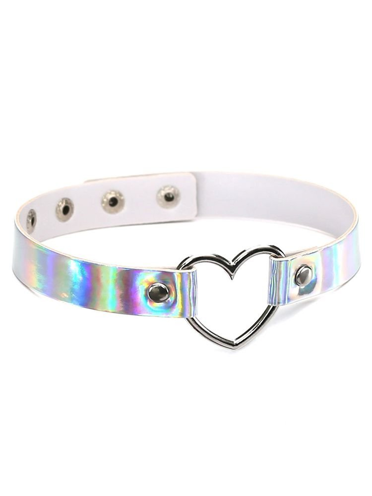 Metal Color Alloy Heart Leather Chocker