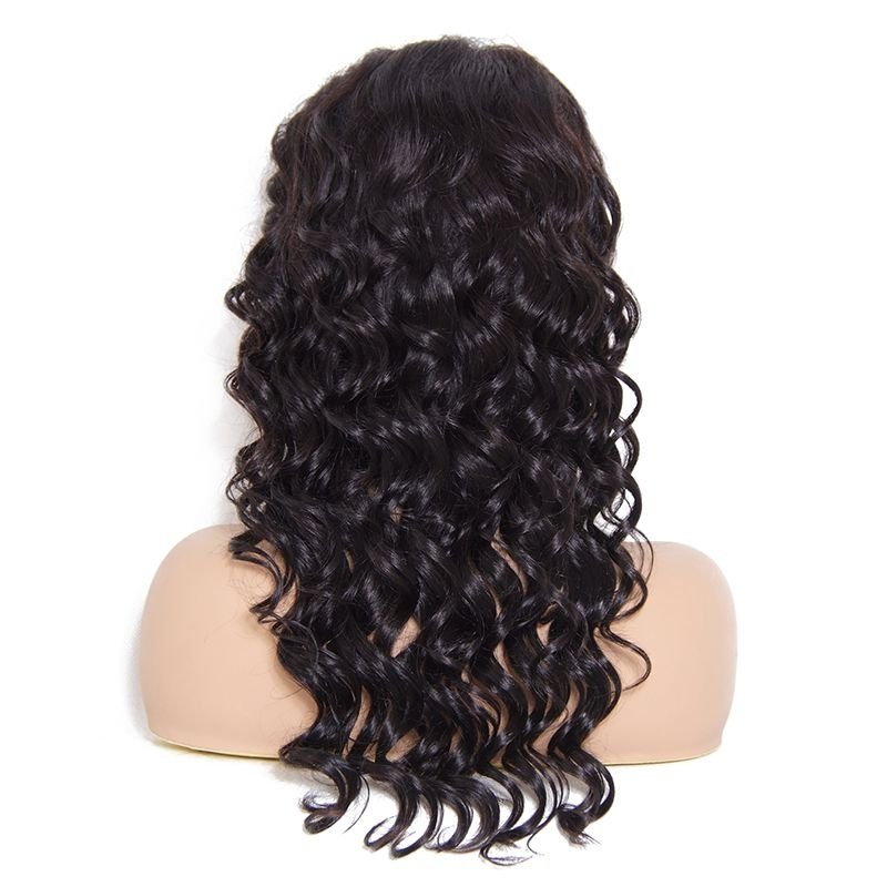 AfricanMall Natural Wave Free Part Lace Front Human Hair Wig With Baby Hair