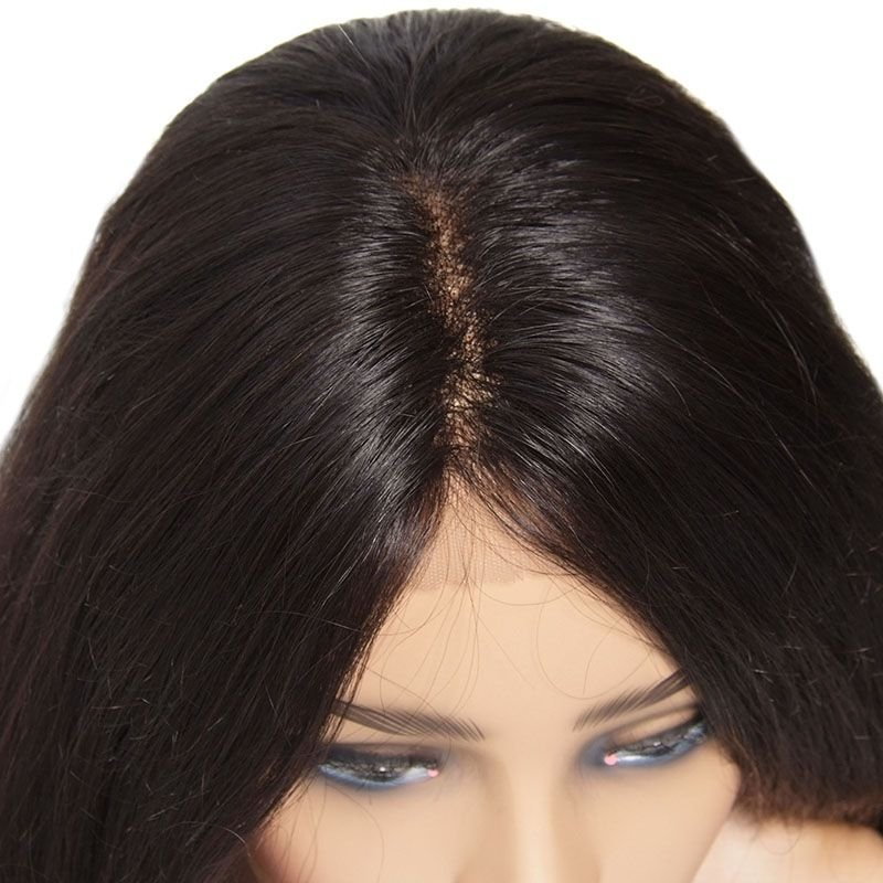 AfricanMall Human Hair Natural Wave Lace Front Wig 100% Human Hair