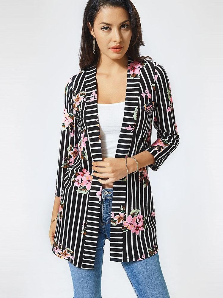 Open Front Floral Print Striped Coat
