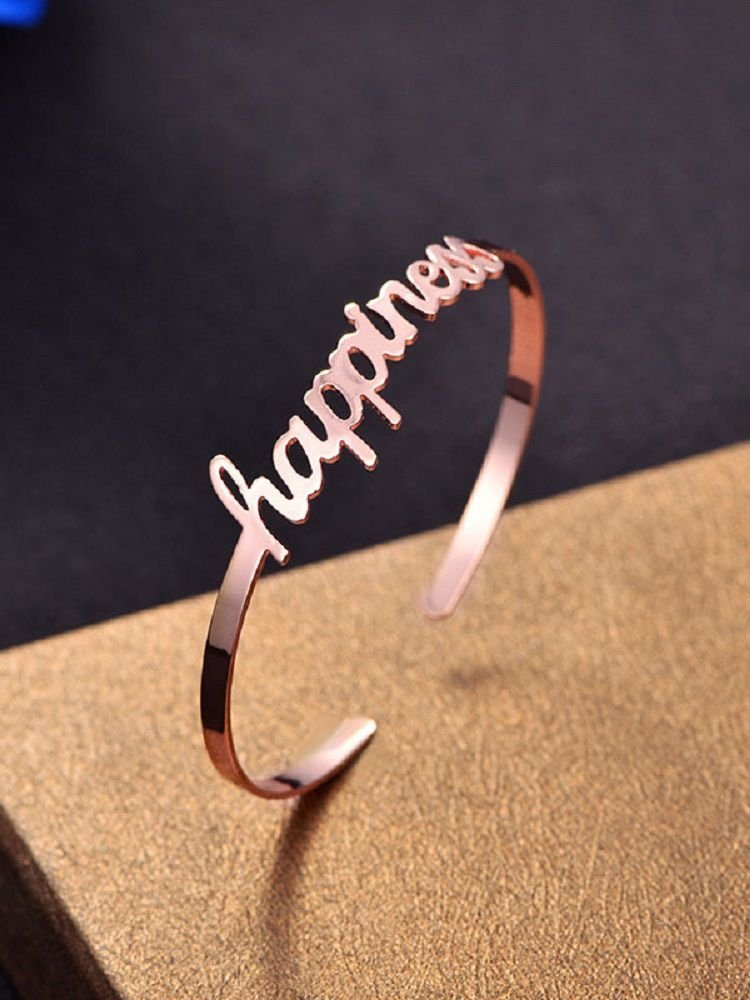Simple Happiness Design Valentine's Day Cuff Bracelet