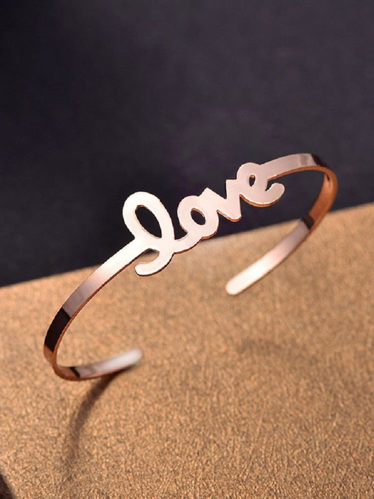 Simple Love Design Valentine's Day Cuff Bracelet