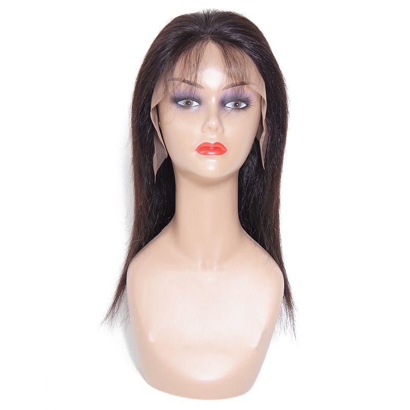 AfricanMall 16in Straight Lace Front Human Hair Wig With Baby Hair