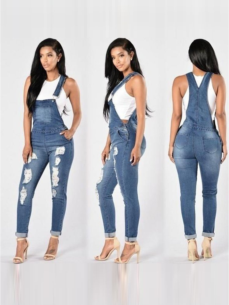 JurllyShe Bleach Wash Ripped Rolled Jeans Overalls