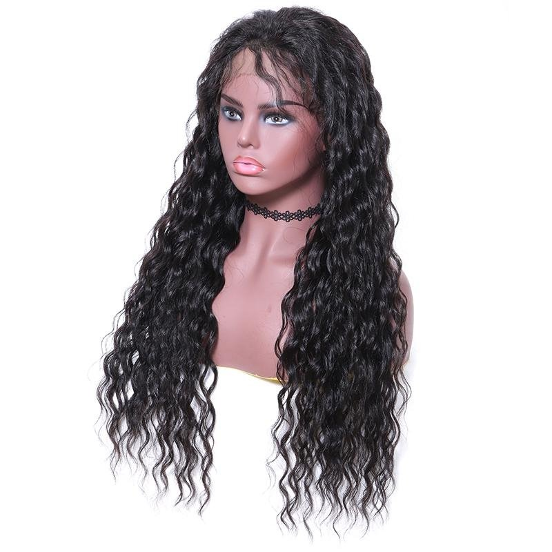 AfricanMall Long Wavy Free Part Human Hair Lace Front Wig with Baby Hair